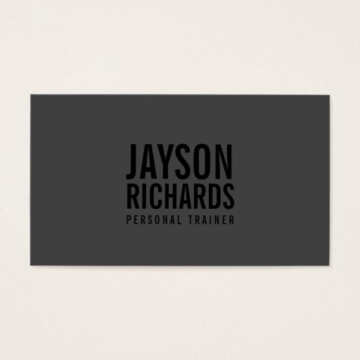 Bold Black/Grey Personal Trainer Business Card