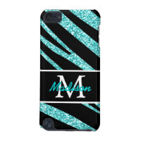 BOLD BLACK ZEBRA STRIPES NAME TEAL GLITTER iPod TOUCH (5TH GENERATION) COVER