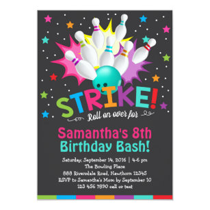 bowling birthday invitations zazzle