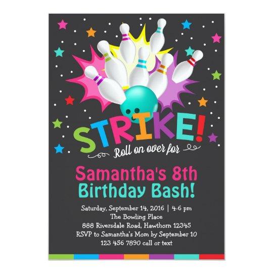 bowling invitation bowling birthday