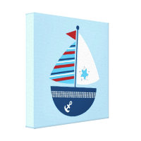 Boys Nautical Sailboat Canvas Nursery Wall Art