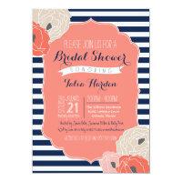 Bridal or Baby Shower Invitation Bold Stripe Coral