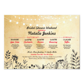 Bridal Shower Party Floral Itinerary Bachelorette Invitation