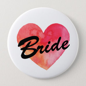 Bride Badge | watercolor heart  Bachelorette party