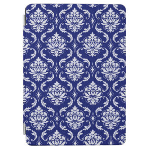 Bright Navy Blue Damask Pattern iPad Air Cover