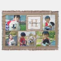 Monogrammed Photo Collage Throw Blanket