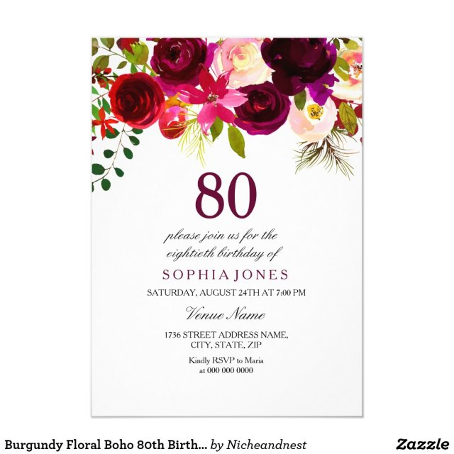 Boho 80th Birthday Party Invite