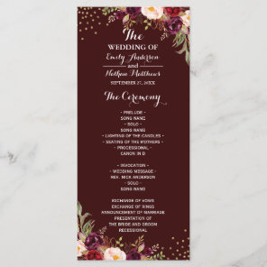 Burgundy Gold Confetti Floral Wedding Program Programme