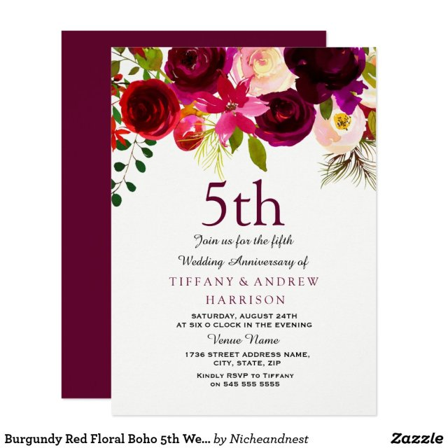 Burgundy Red Floral Boho 5th Wedding Anniversary Card