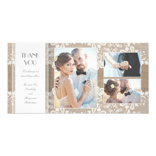 Burlap and Lace Photo Wedding Thank You Card