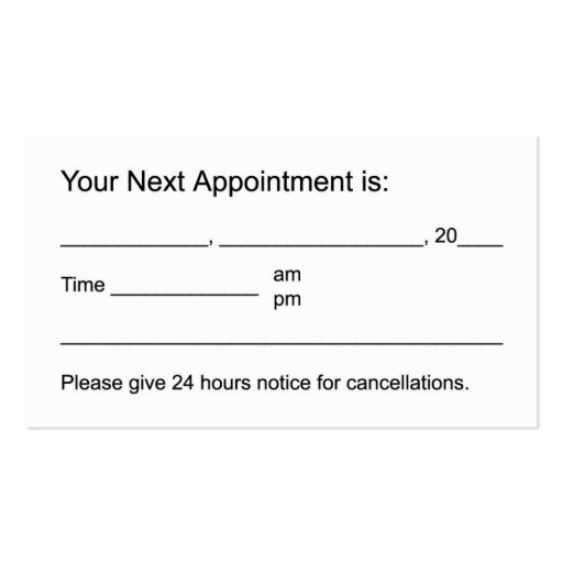 Appointment reminder card template word ziesite appointment business card template wajeb Image collections
