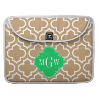 Camel Wht Moroccan #6 Emerald 3 Initial Monogram MacBook Pro Sleeves