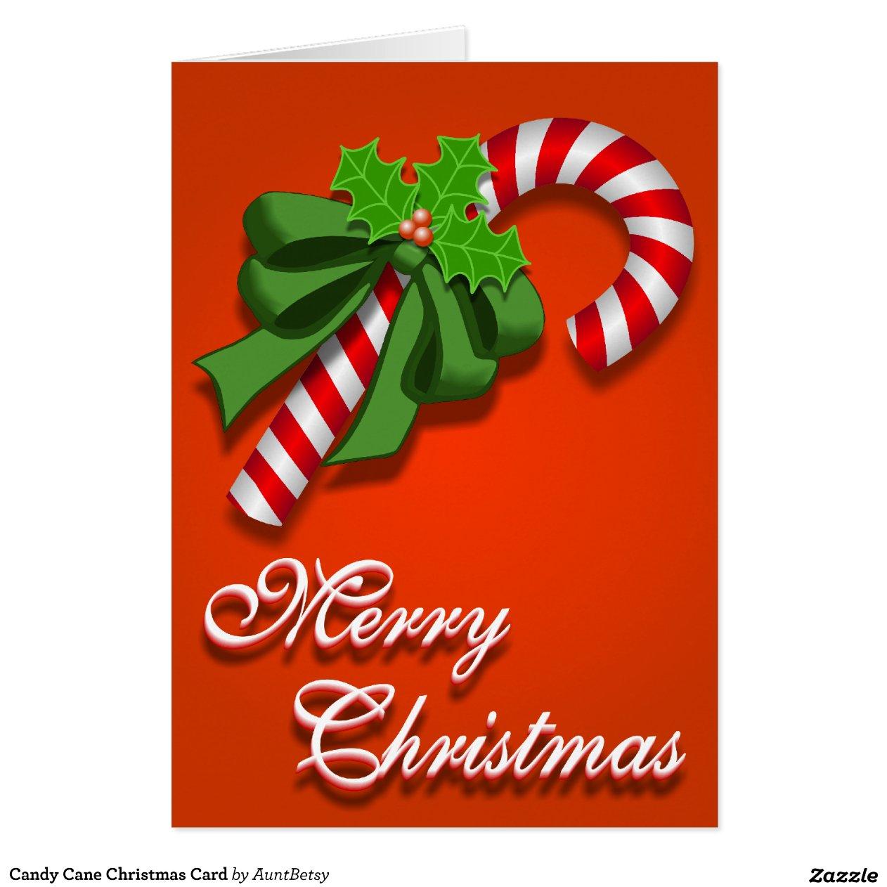 Candy Cane Christmas Card Zazzle