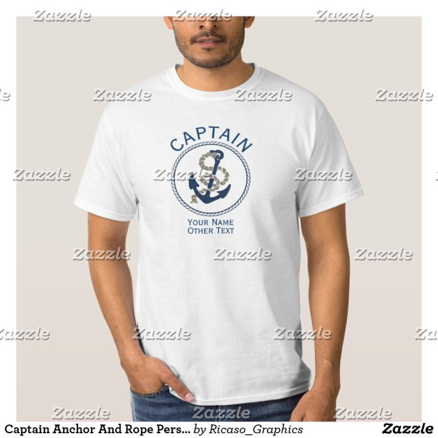Captain Anchor And Rope Personalised T-Shirt