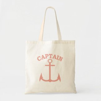 Captain Pink Anchor Canvas Tote Bag