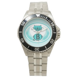 Cat artwork/illustration monogram watch