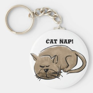 Cat Nap cartoon cat key-ring
