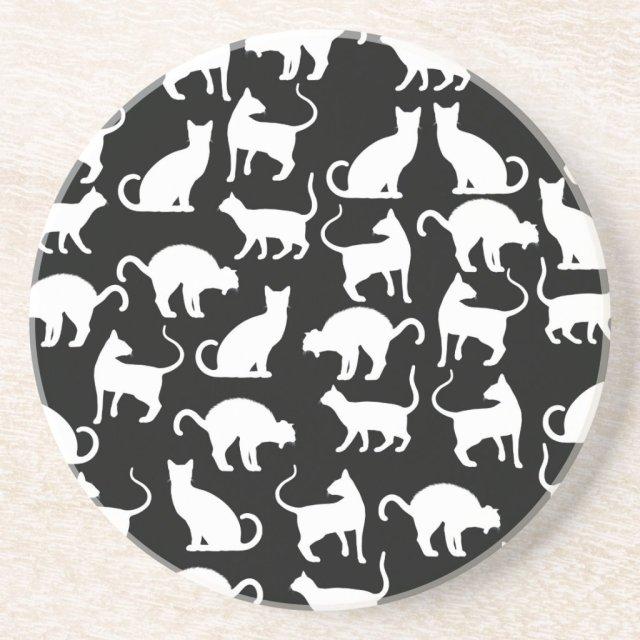 cats silhouette coaster