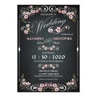 Chalkboard Floral Vintage Bold Wedding  Paper Invitation Card