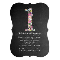 Chalkboard Girls Floral 1st Birthday Party Invite