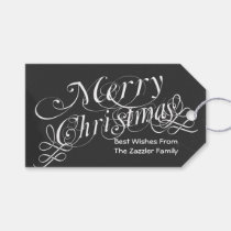 chalkboard Scroll Font Merry Christmas Pack Of Gift Tags