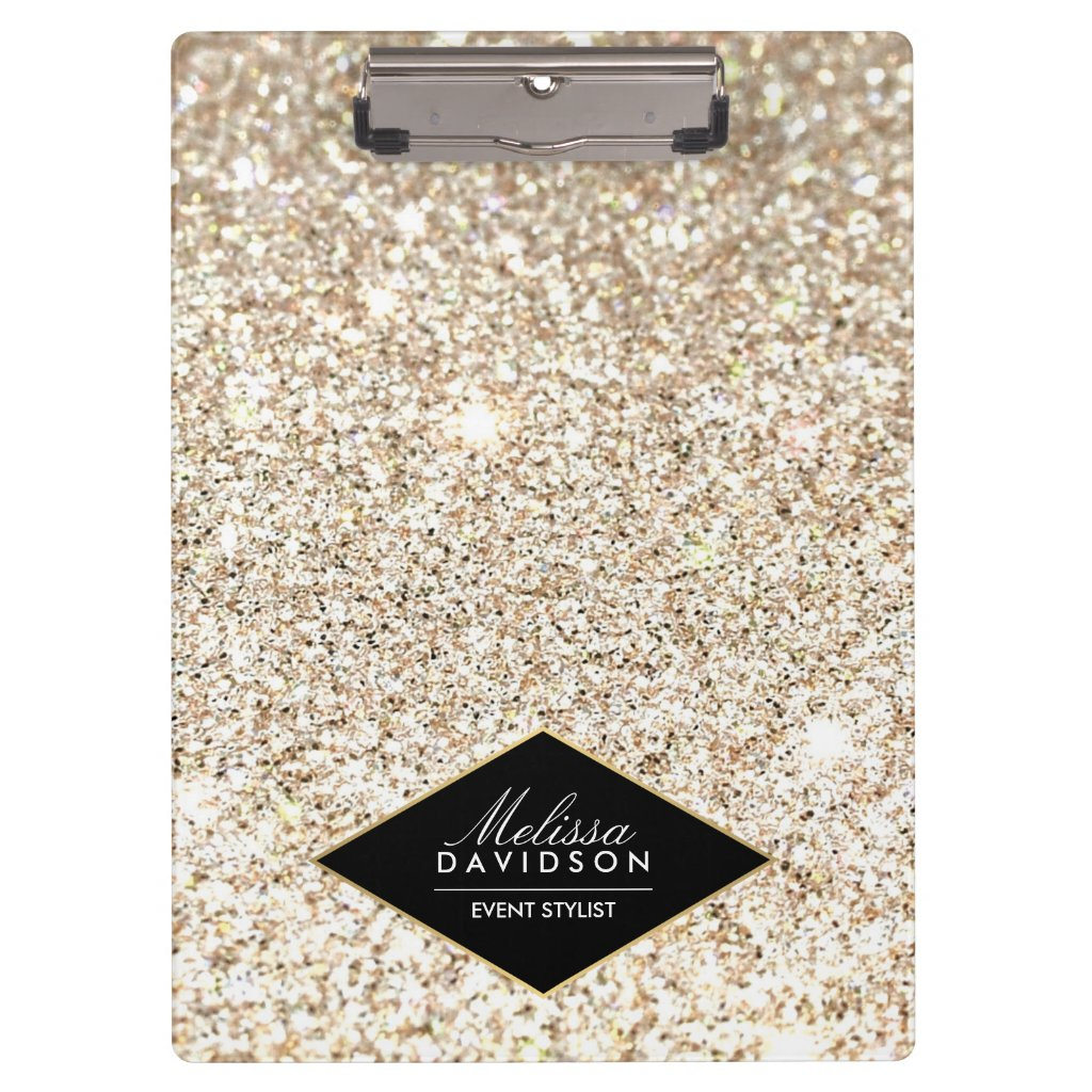 Champagne Gold Glitter and Glamour Personalised Clipboards