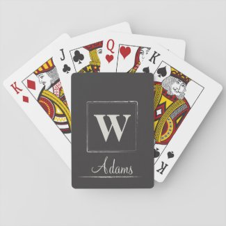 Charcoal Monogram Playing Cards