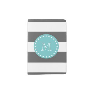 Charcoal Grey White Stripes Pattern, Teal Monogram