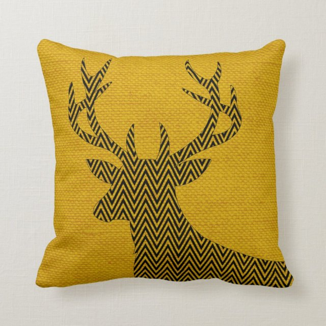 Chevron Deer Silhouette on Burlap | mustard