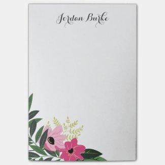 Chic Floral Border Monogram Post It Notes
