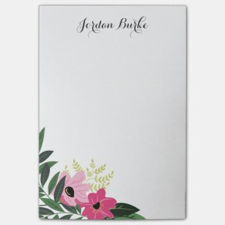 Chic Floral Border Monogram Post It Notes