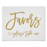 Chic Hand Lettered Gold Wedding Favors Sign Poster