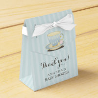 Chic Teacup in Blue Baby Shower Favour Box