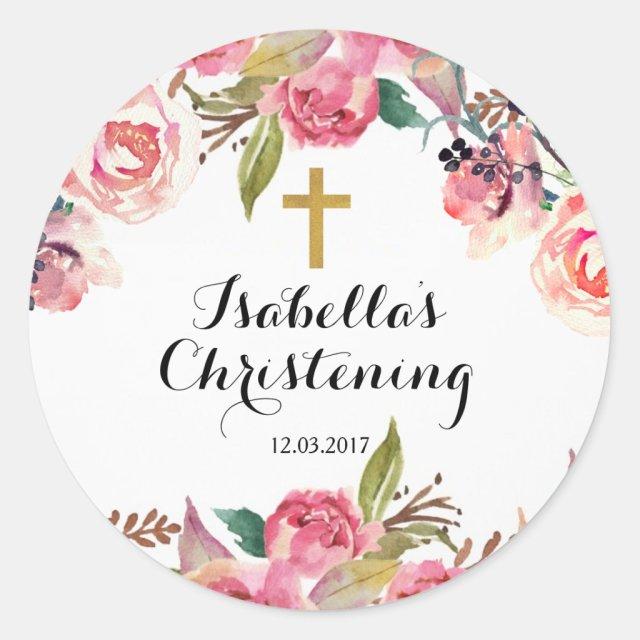 Christening Baptism Sticker - Gold cross