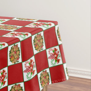 Christmas gingerbread peppermint pattern tablecloth