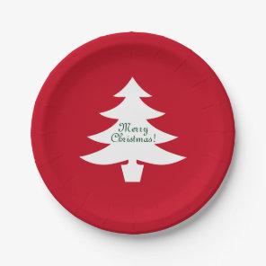 Christmas paper plates | Xmas tree with greeting