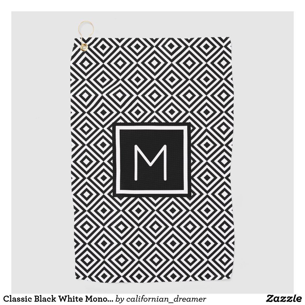 Classic Black White Monogrammed Golf Towel