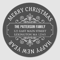 Classic Chalkboard Merry Christmas Label Classic Round Sticker