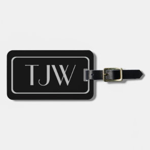 Classic Silver Initials on Black Luggage Tags