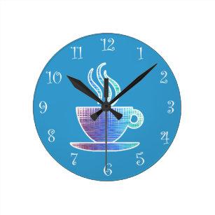 blue kitchen wall clocks aid dishwasher repair zazzle uk coffee