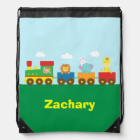 Colourful Cute Animals Train for Kids Drawstring Bags