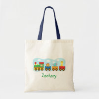 Animals Train Tote Bag