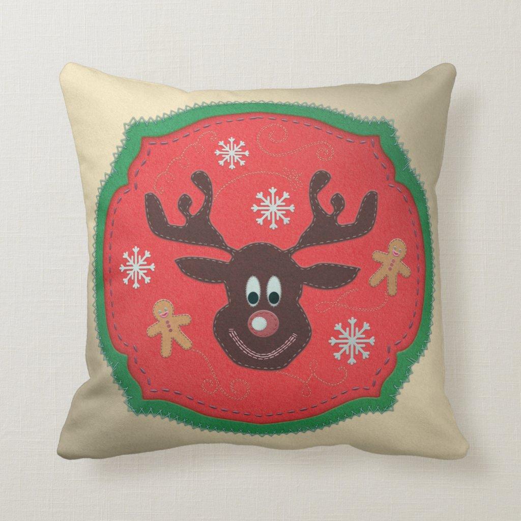 Colourful Rudolph the Reindeer Fake Felt Cushion