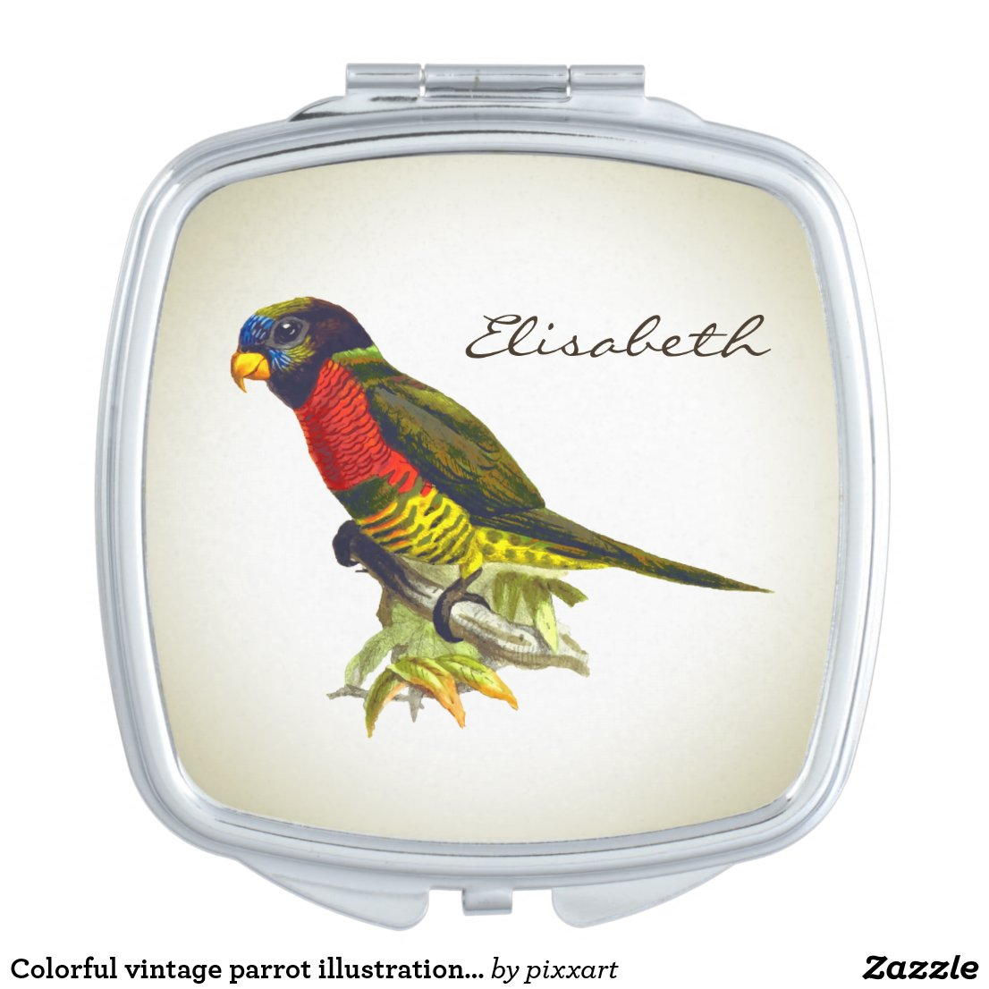 Parrot illustration compact mirror