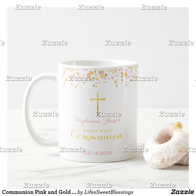 Communion Pink and Gold Confetti Coffee Mug