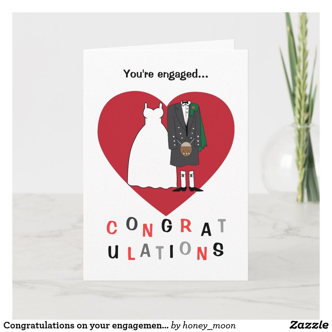 Congratulations on your engagement Scottish couple Card