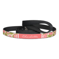 Coral and Blush Vintage Roses Monogram Dog Lead