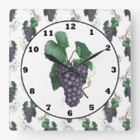 Country Grapes kitchen wall clock