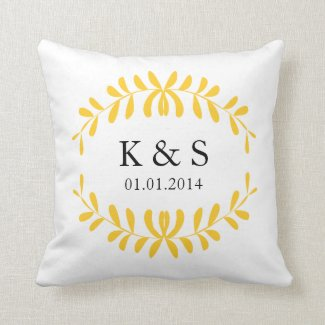 Couples Monogram Pillow | Yellow