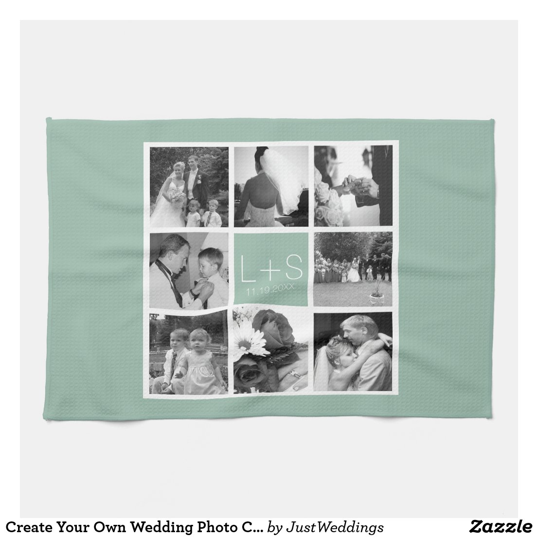 Create Your Own Wedding Photo Collage Monogram Tea Towel